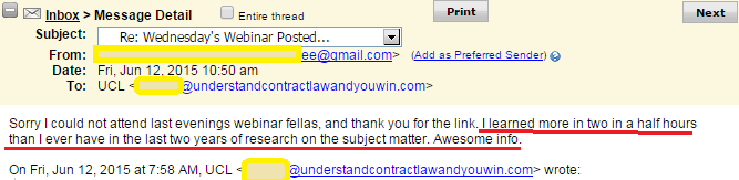 ucl status course testimonial Status Correction 1st Webinar REPLAY (& Overwhelming Positive Feedback)
